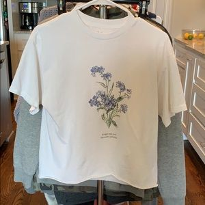 Medium John Galt Crop Top Forget Me Not Flowers